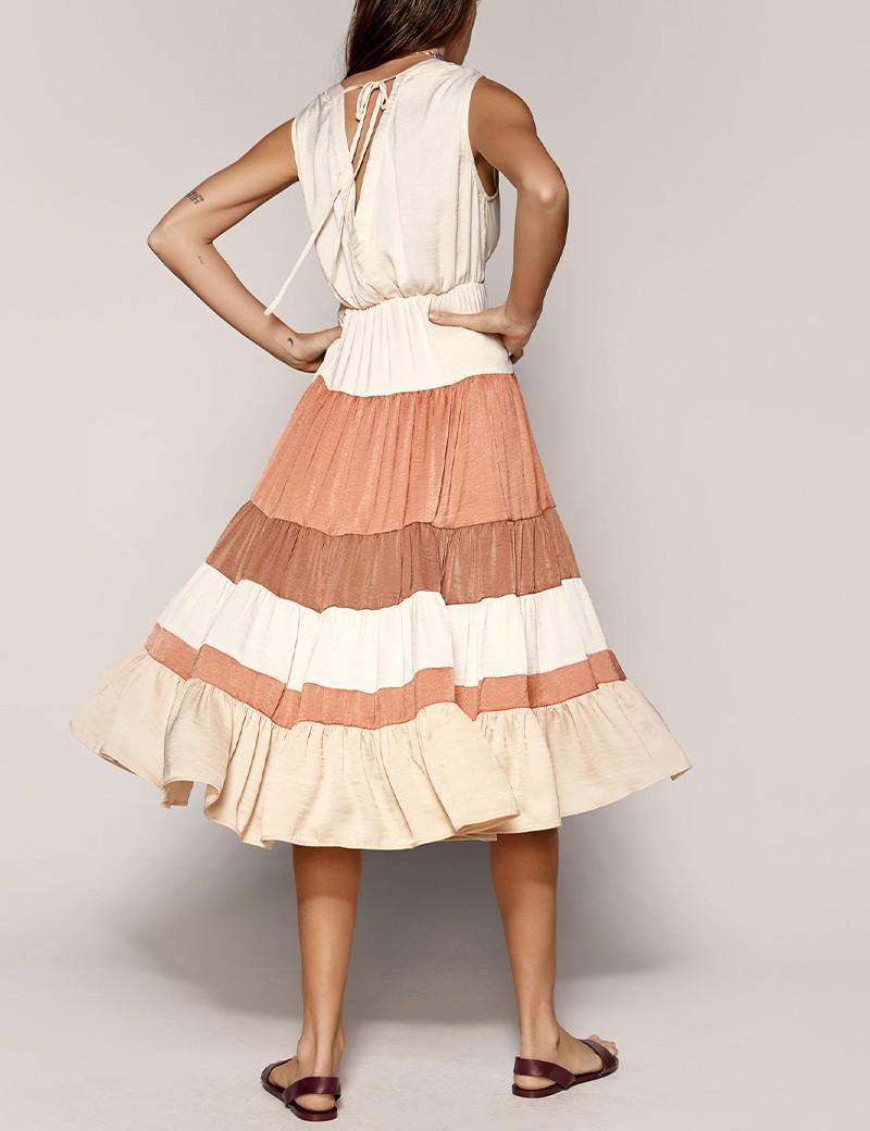 Φόρεμα κρουαζέ κλος με βολάν ACCESS FASHION