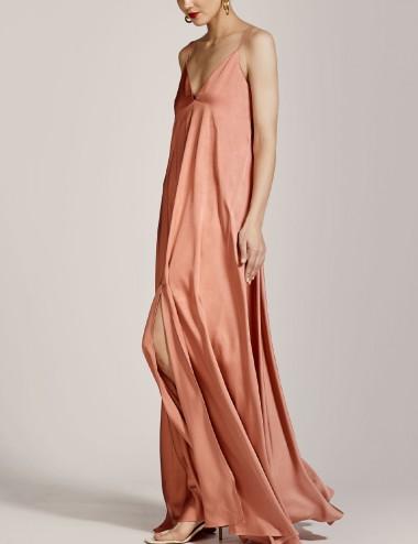 Φόρεμα μάξι σατέν με τιράντες ACCESS FASHION