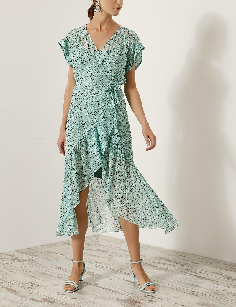 Φόρεμα κρουαζέ φλοράλ ασσύμετρο EIGHT by ACCESS FASHION