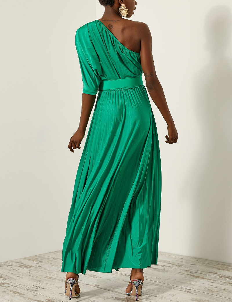 Φόρεμα μάξι πλισέ με ακάλυπτο ώμο ACCESS FASHION
