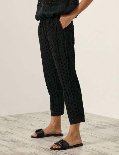 Παντελόνι μπροντερί με ελαστική μέση ACCESS FASHION