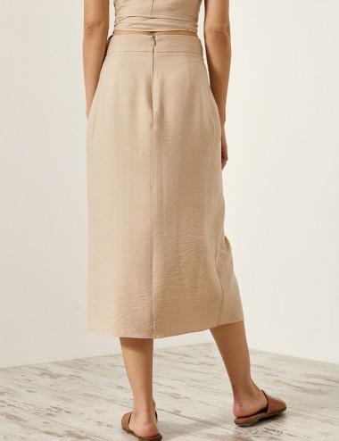 Φούστα μίντι με τσαλακωτή όψη ACCESS FASHION