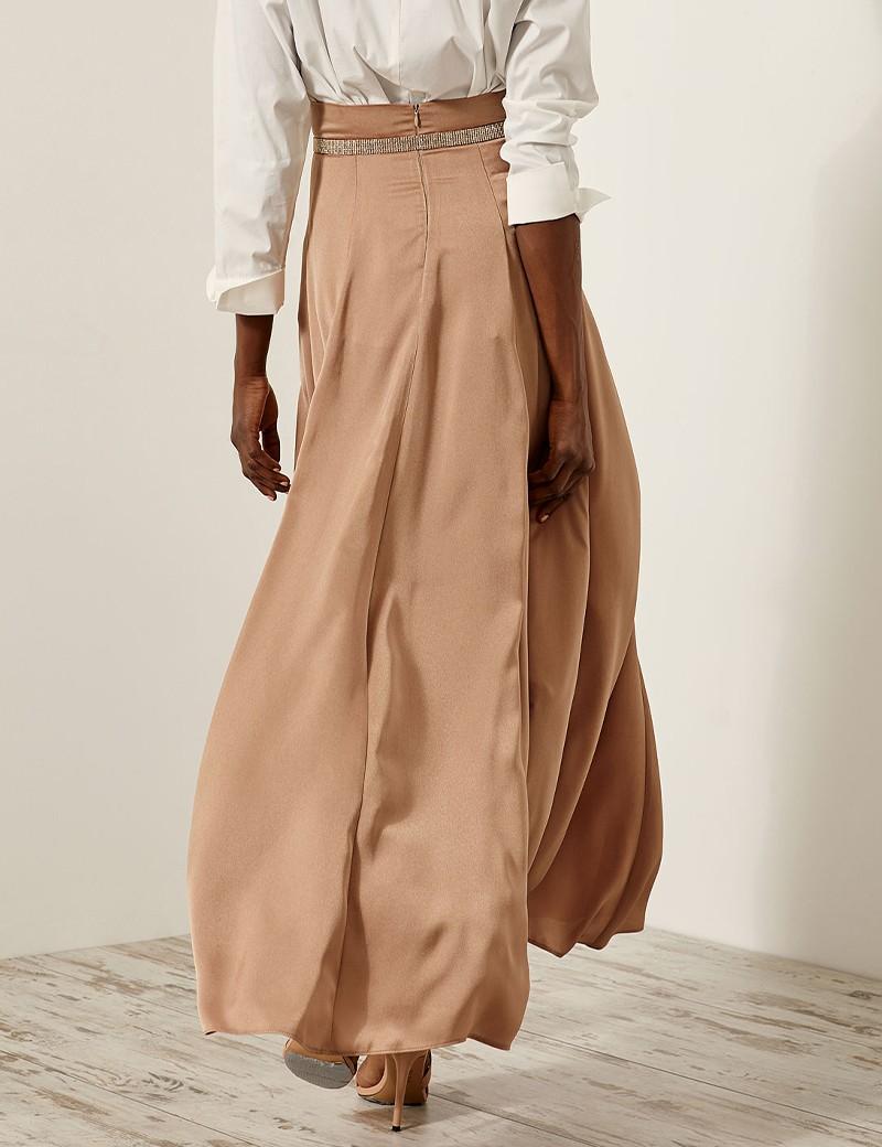 Maxi satin slit skirt ACCESS FASHION