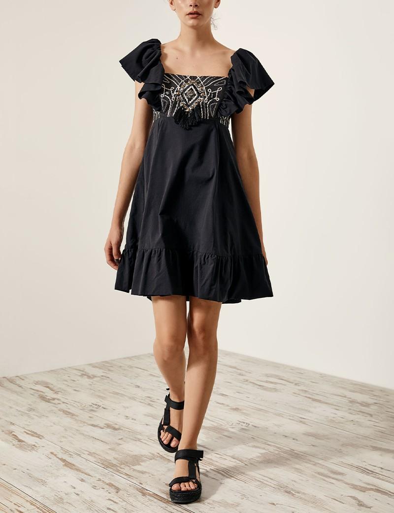 Φόρεμα με κέντημα και τετράγωνη λαιμόκοψη SPELL by ACCESS FASHION