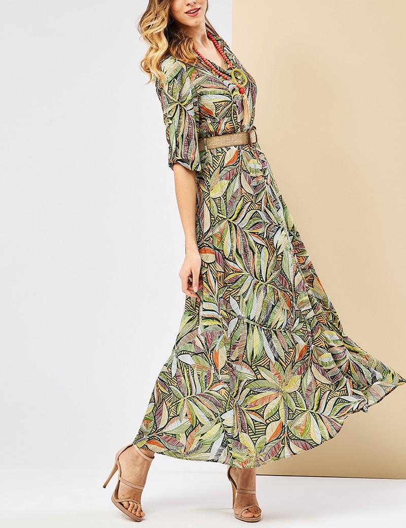 Φόρεμα σεμιζιέ μάξι φλοράλ FOREL