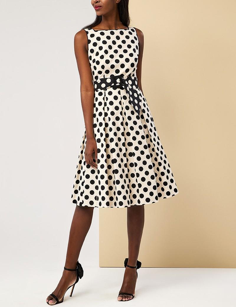 Φόρεμα πουά δίχρωμο με πιέτες FOREL