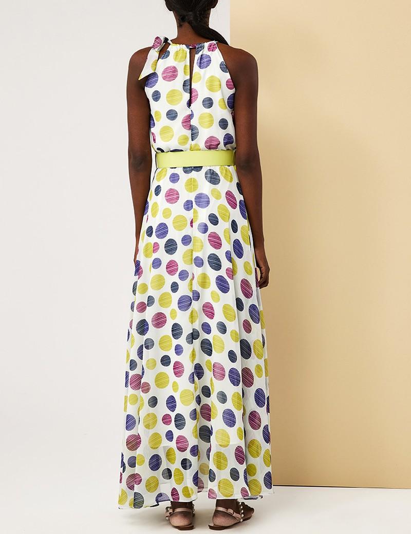Φόρεμα μάξι πουά με παρτούς ώμους FOREL