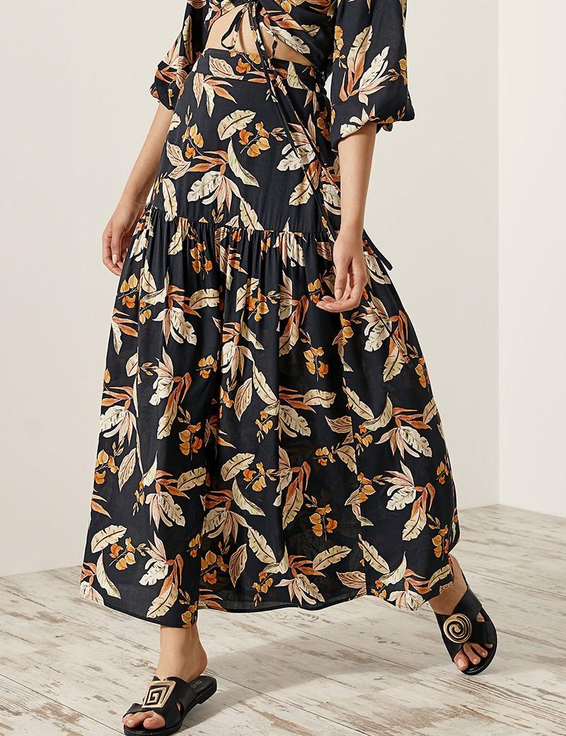 Φούστα μάξι με φλοράλ print SPELL by ACCESS FASHION
