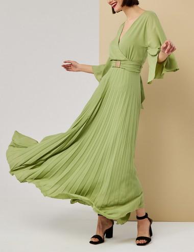 Φόρεμα πλισέ με καμπάνα μανίκι FOREL