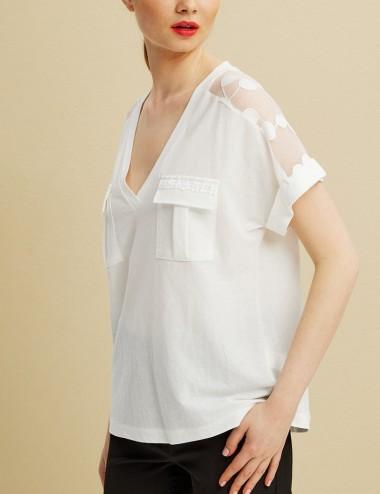 Μπλούζα με τσέπες και δαντέλα