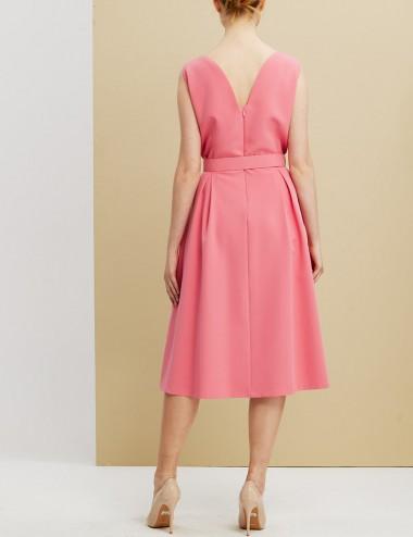 Φόρεμα αμάνικο κρεπ με πιέτες FOREL