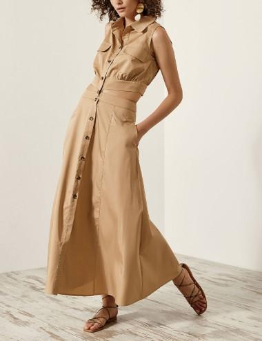 Φόρεμα σεμιζιέ με άνοιγμα στη μέση SPELL by ACCESS FASHION