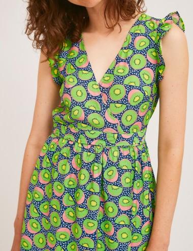 Φόρεμα κρουαζέ με print COMPANIA FANTASTICA