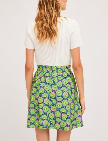 Φούστα με print και ελαστική μέση COMPANIA FANTASTICA