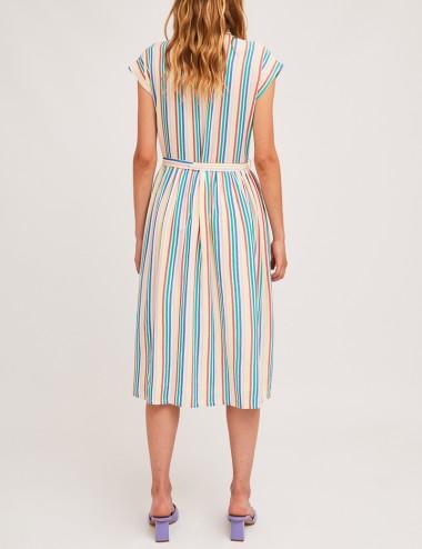 Φόρεμα μίντι με πολύχρωμες ρίγες COMPANIA FANTASTICA