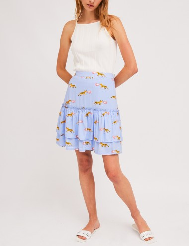 Φούστα κοντή με βολάν και print COMPANIA FANTASTICA