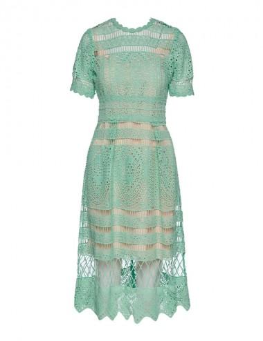 Φόρεμα κοντομάνικο με δαντέλα