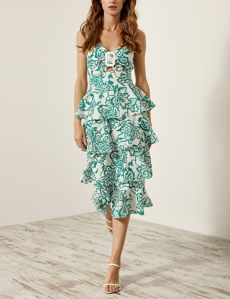 Φόρεμα φλοράλ με στρώσεις βολάν SPELL by ACCESS FASHION