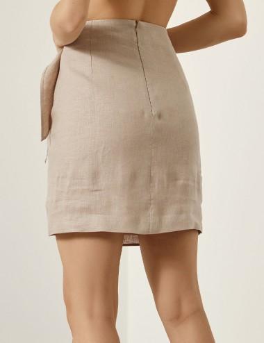 Φούστα λινή με δέσιμο στο πλάι SPELL by ACCESS FASHION