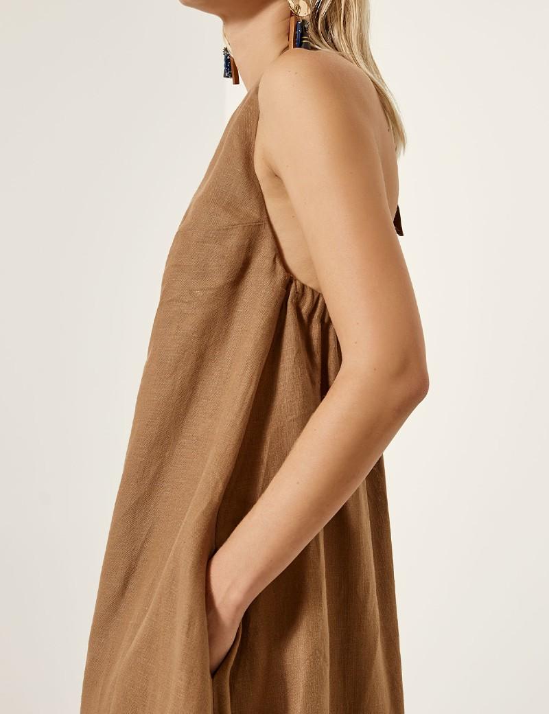 Φόρεμα λινό με παρτούς ώμους ACCESS FASHION