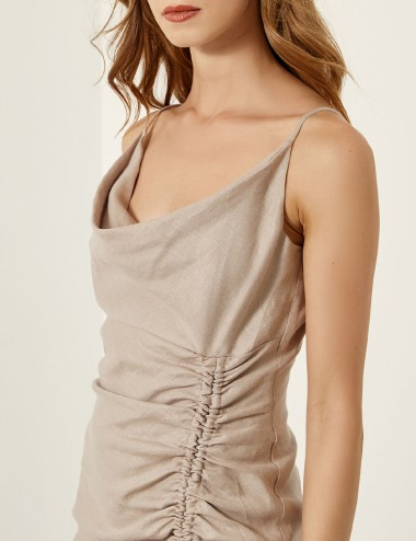 Φόρεμα λινό τιραντέ με σούρα SPELL by ACCESS FASHION