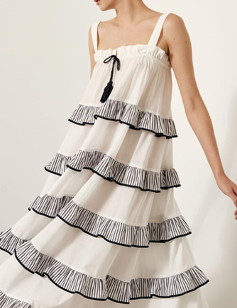Φόρεμα με ριγέ βολάν SPELL by ACCESS FASHION