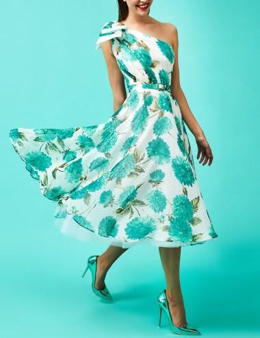 Φόρεμα μίντι με έναν ώμο και φιόγκο FOREL by VASSILIS ZOULIAS