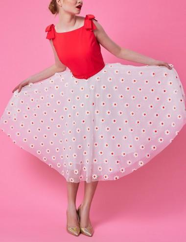 Φόρεμα με απλικέ μαργαρίτες και φιόγκους FOREL by VASSILIS ZOULIAS