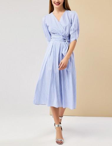 Φόρεμα ριγέ κρουαζέ με ζώνη FOREL