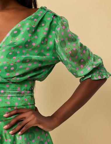 Μπλούζα κρουαζέ με πολύχρωμα πουά FOREL