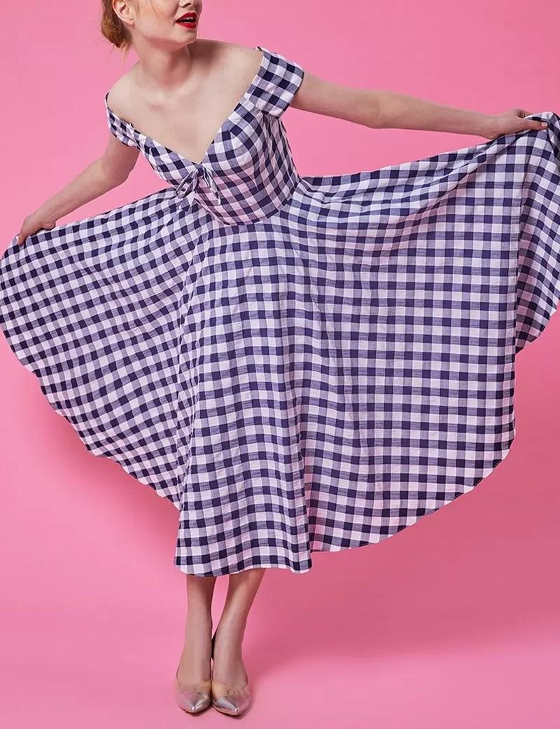 Φόρεμα έξωμο καρό FOREL by VASSILIS ZOULIAS