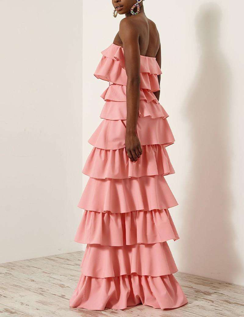 Φόρεμα έξωμο με στρώσεις βολάν SPELL by ACCESS FASHION