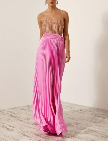 Φόρεμα πλισέ δίχρωμο με ανοίγματα SPELL by ACCESS FASHION