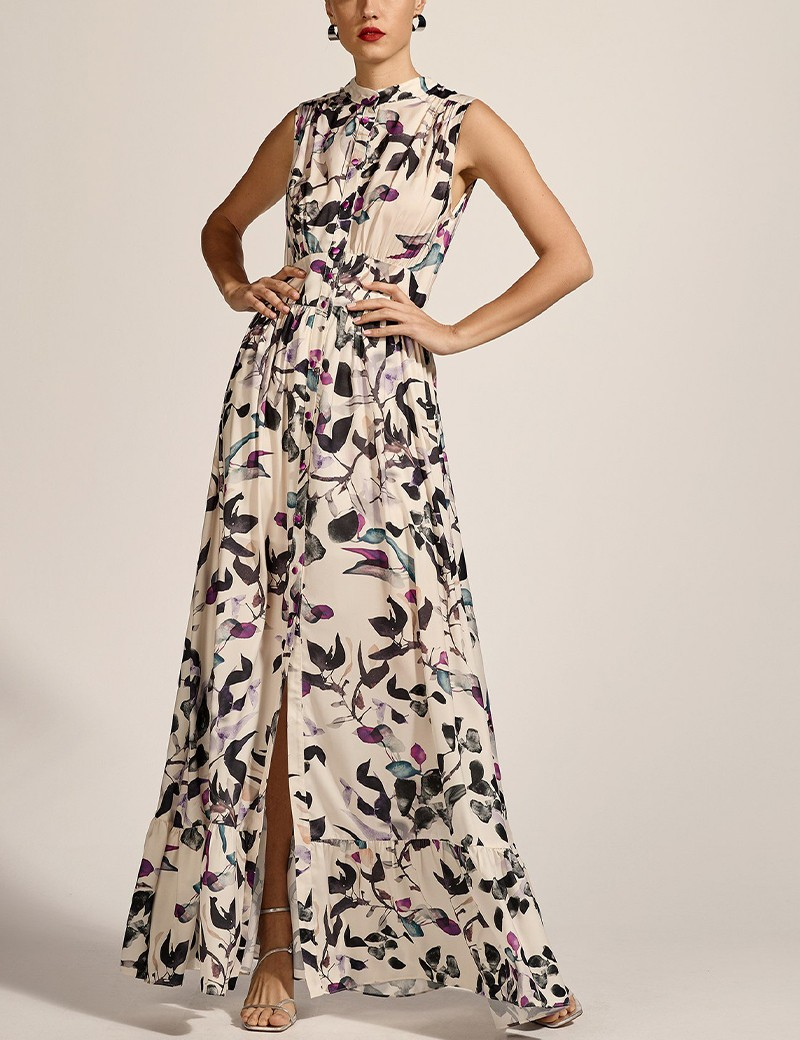 Φόρεμα μάξι σεμιζιέ φλοράλ ACCESS FASHION