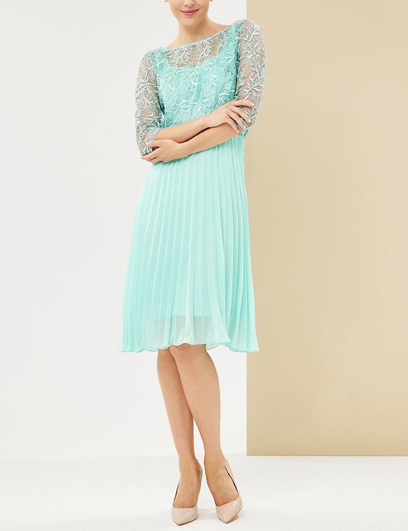 Φόρεμα πλισέ με δαντελένια μπλούζα FOREL