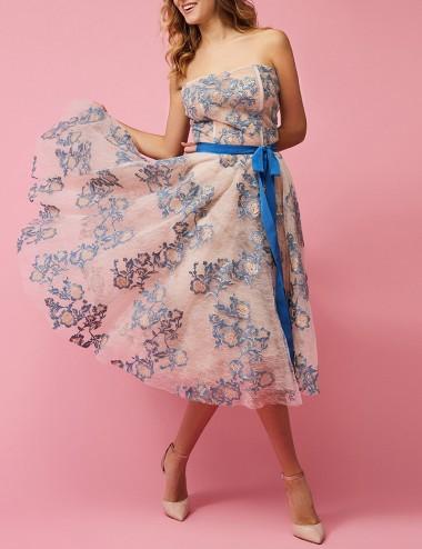 Φόρεμα στράπλες με φλοράλ δαντέλα FOREL by VASSILIS ZOULIAS