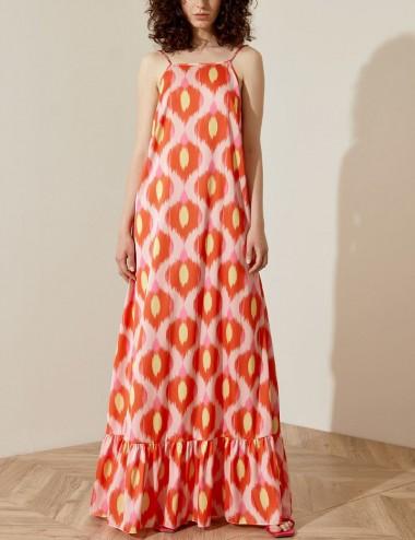 Φόρεμα μάξι με 70s print ACCESS FASHION