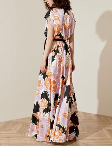 Φόρεμα σεμιζιέ αμάνικο με print ACCESS FASHION