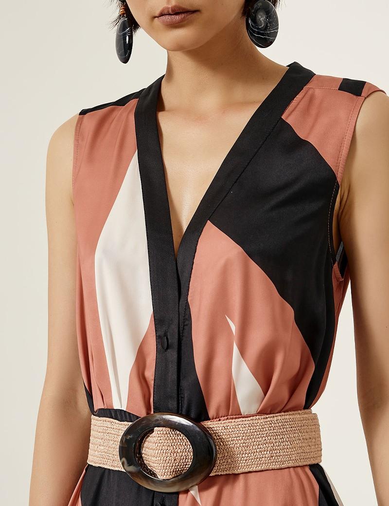 Φόρεμα σεμιζιέ μάξι με τρία χρώματα ACCESS FASHION