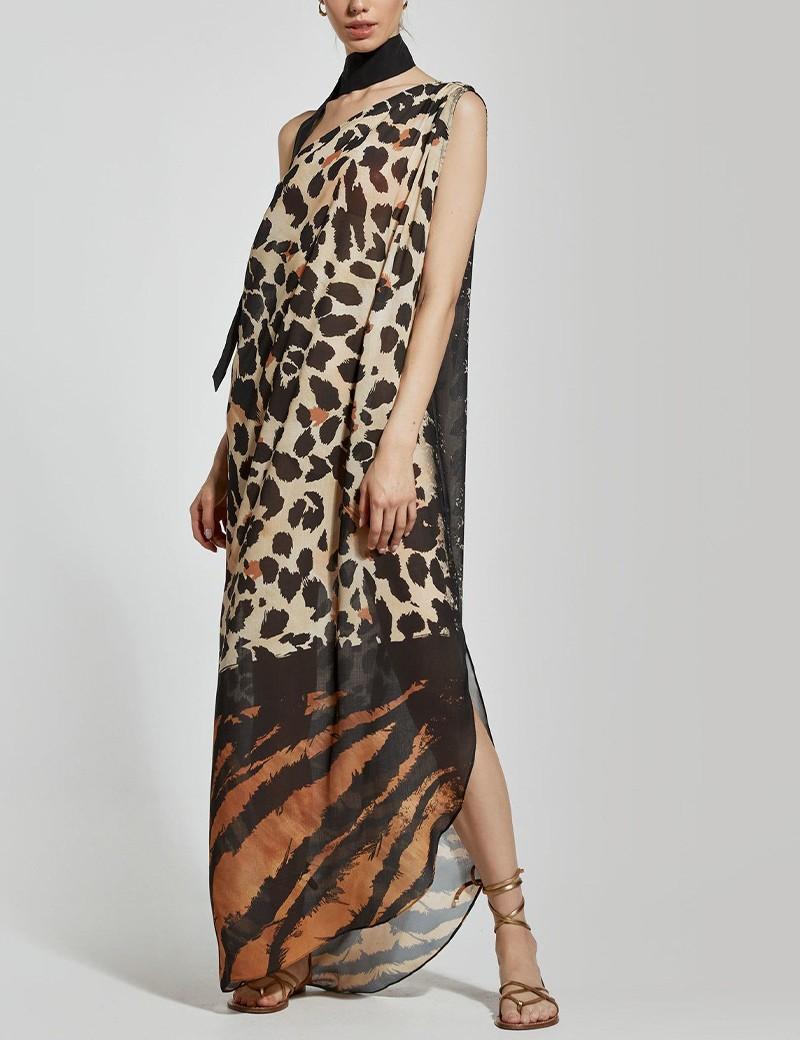 Φόρεμα animal print με ένα ώμο ACCESS FASHION