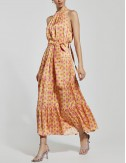 Φόρεμα μίντι εμπριμέ με παρτούς ώμους ACCESS FASHION