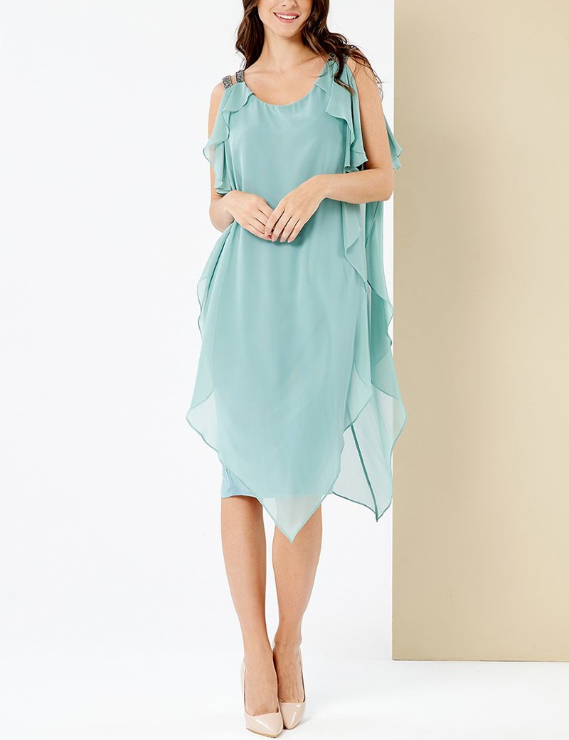 Φόρεμα μουσελίνα με στρας στους ώμους FOREL