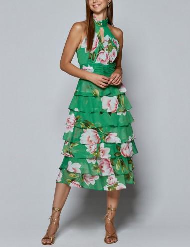 Φόρεμα μίντι φλοράλ με βολάν SPELL by ACCESS FASHION