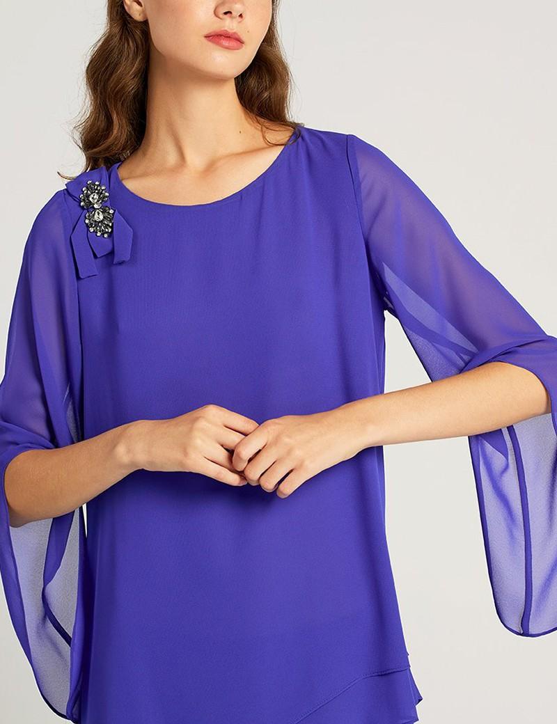 Μπλούζα ασύμμετρη από μουσελίνα FOREL