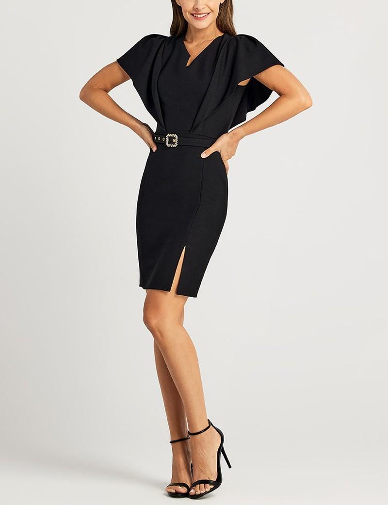 Φόρεμα pencil μίνι με φαρδύ μανίκι FOREL