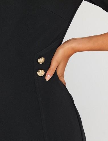 Φόρεμα pencil κρεπ με χρυσά κουμπιά FOREL