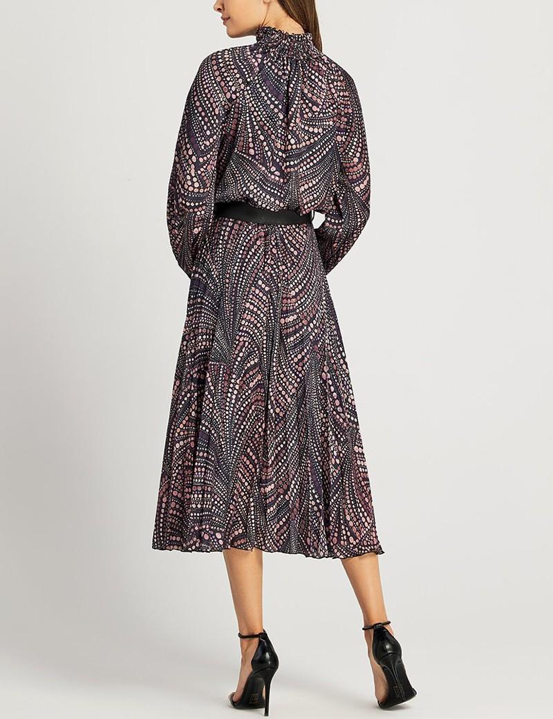 Φόρεμα πλισέ με ζώνη και δέσιμο στο λαιμό FOREL
