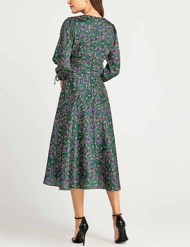 Φόρεμα μεσάτο με λοξή φούστα FOREL
