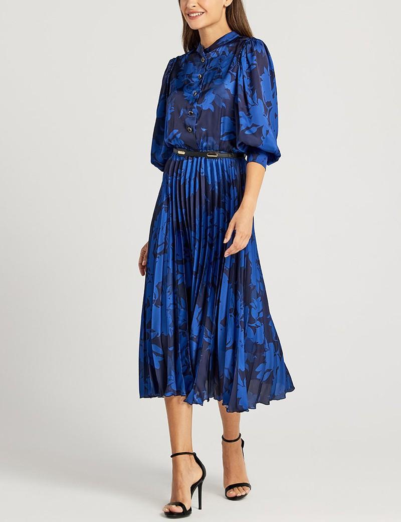 Φόρεμα με κουμπάκια εμπρός και πλισέ φούστα FOREL