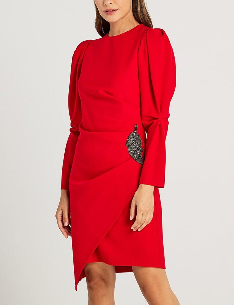 Φόρεμα κρεπ ντραπέ με απλικέ μοτίφ FOREL